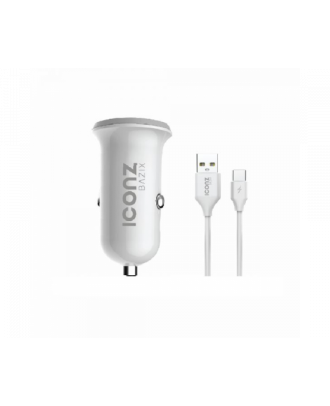 Iconz XCC03W Bazix Dual USB Car Charger Type-C Cable White