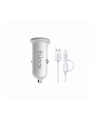 Iconz XCC07W Bazix Dual USB Car Charger 2 In 1Cable White