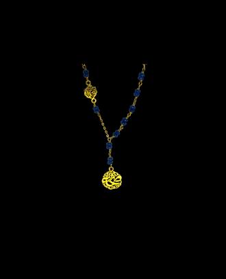 عقد مصنوع من اليشم الازرق و فضة مطلية ذهب - M201