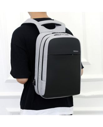 MEINAILI 1802 - 15.6-Inch Waterproof Laptop Backpack With Usb Charging Port - Gray/Black