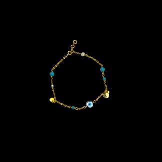 خلخال مصنوع من صدف, لولى, فيروز و فضة مطلى ذهب- 3269
