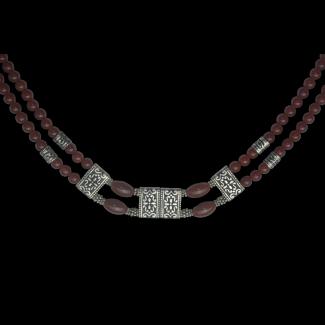 عقد مصنوع من العقيق البنى , الفضة المصرى والفضة الهندى - 3280