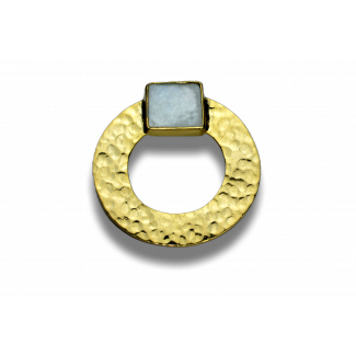 حلق مصنوع من الصدف وفضة مطلى ذهب - K1054