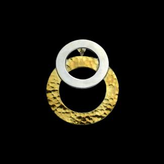 حلق مصنوع من الفضة وفضة مطلى ذهب - K1093