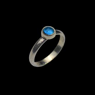 خاتم مصنوع من الفضة والعقيق الازرق- K804